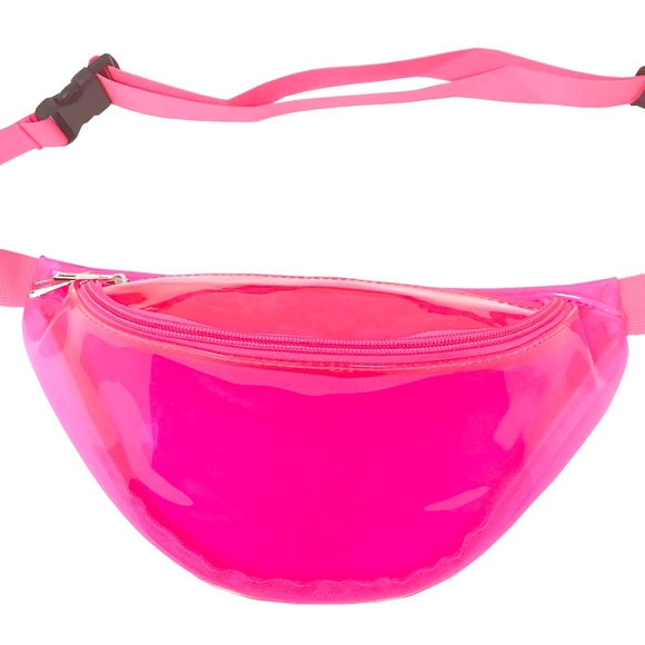 6271a7ea13db Fanny Pack Pink Clear Polyurethane Mini Bag Boutique
